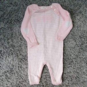 EUC 6-9 Month One piece girls striped outfit